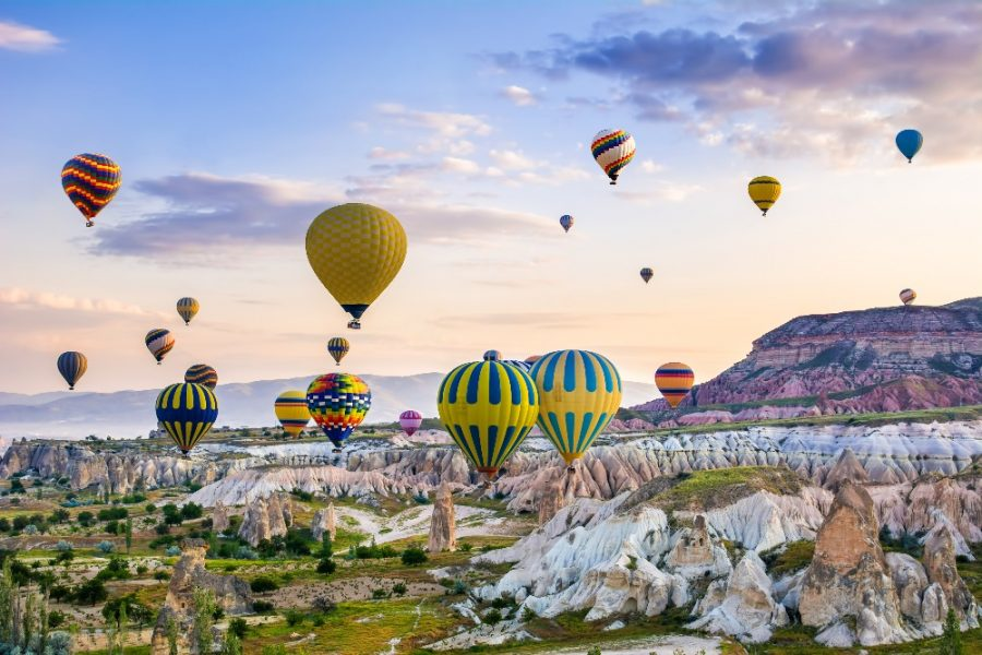The great tourist attraction of Cappadocia - balloon flight. Cappadocia is known around the world as one of the best places to fly with hot ._edited